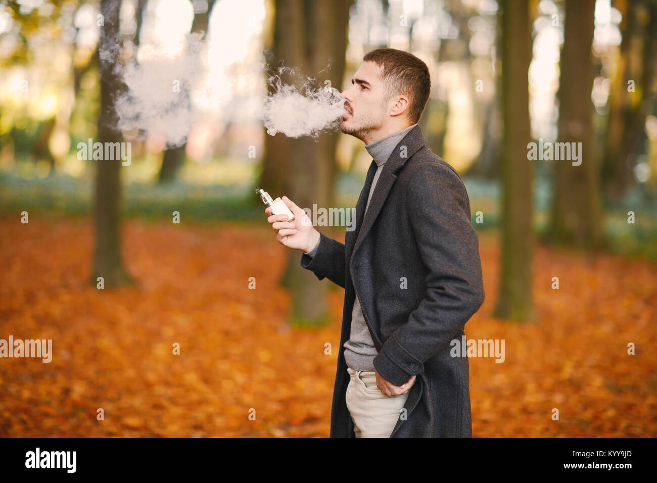 man in the autumn park - Stock Image