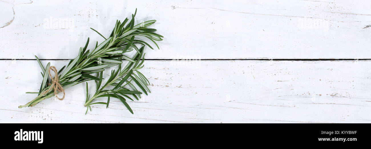 Rosemary herb herbs cooking ingredients copyspace banner background top view from above - Stock Image