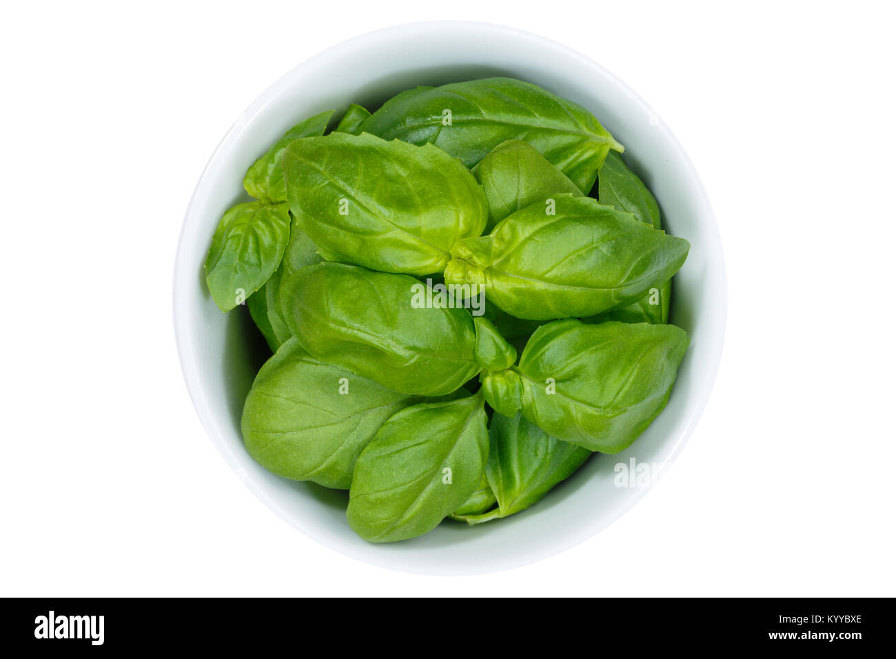 Basil herbs herb from above bowl isolated on a white background - Stock Image