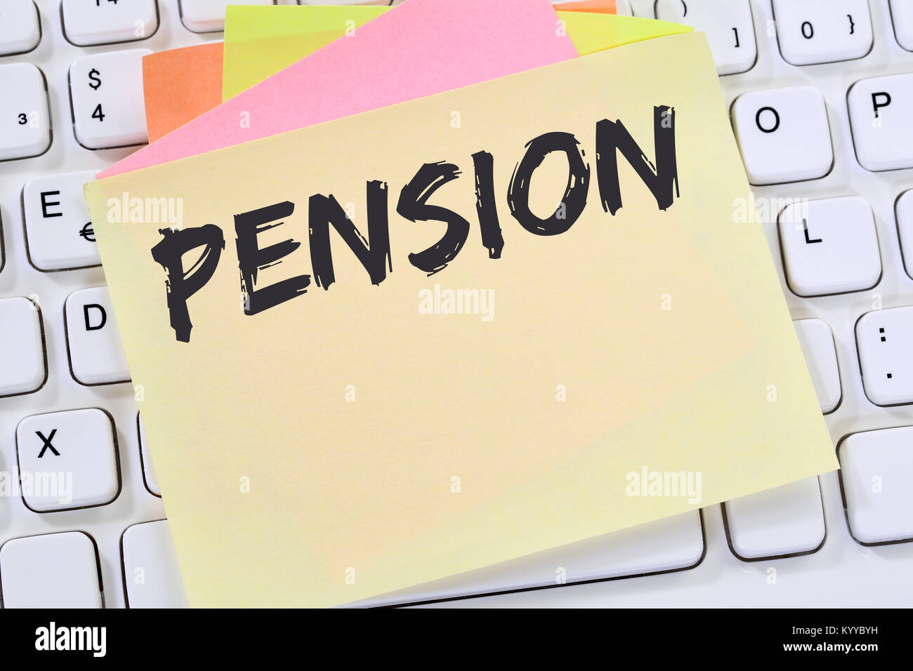 Pension retirement business concept note paper internet keyboard - Stock Image