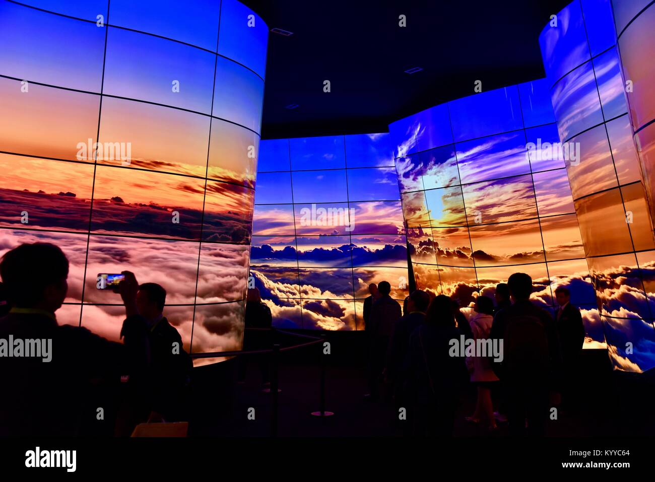 LG Electronics OLED 92-ft-long 'canyon display' of TVs at CES (Consumer Electronics Show), the world's largest - Stock Image
