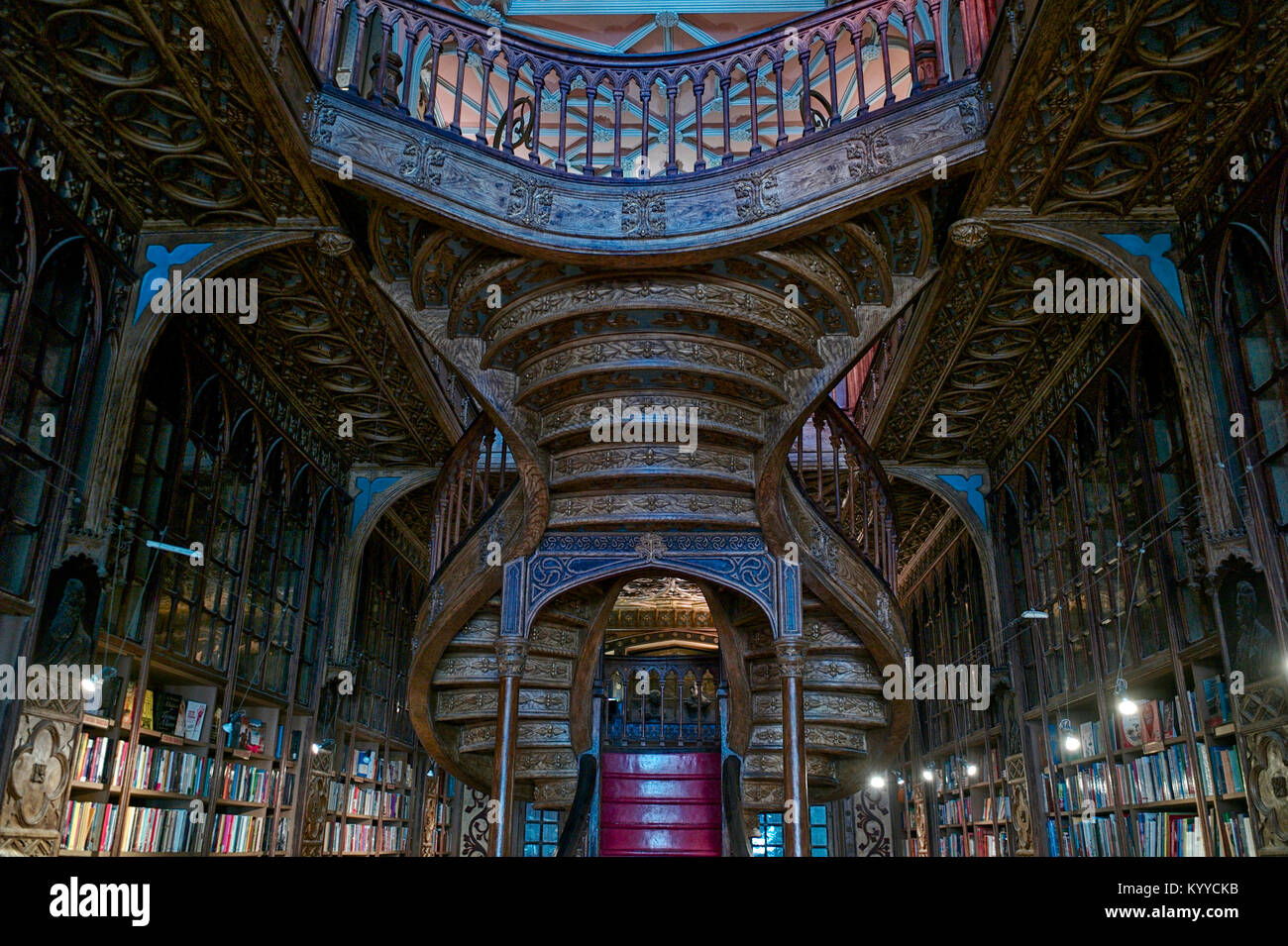 Libreria Lello e Irmao, with detailed wood balusters, is one of the oldest bookstores in Portugal and frequently - Stock Image