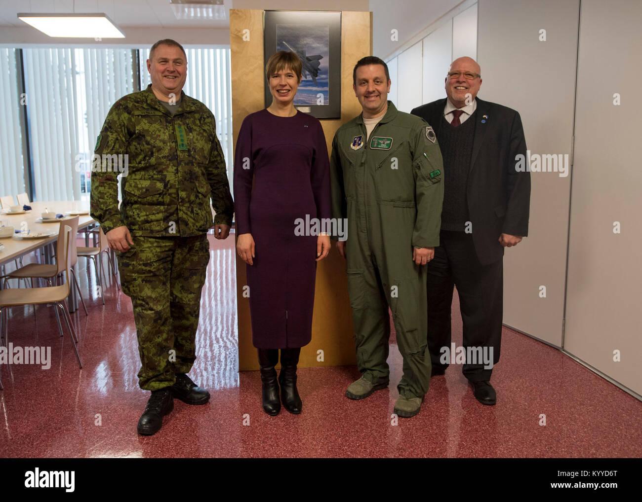 General Riho Terras, commander of the Estonian Defence Forces, H.E. Mrs. Kersti Kaljulaid, President of the Republic Stock Photo