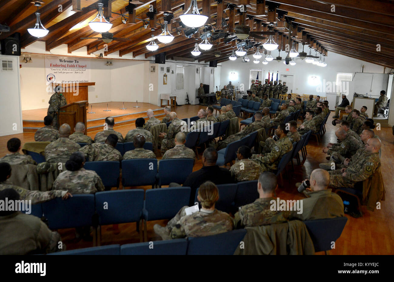 Members of Bagram Airfield gathered at the Enduring Faith Chapel to celebrate Martin Luther King Day Jan. 15, 2018 - Stock Image