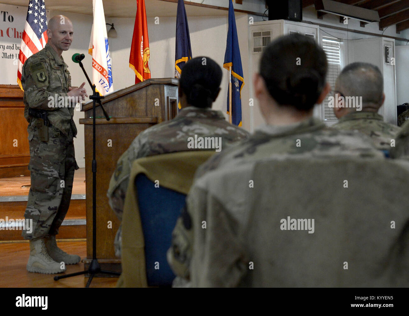 Members of Bagram Airfield gathered at the Enduring Faith to celebrate Martin Luther King Day Jan. 15, 2018 at Bagram - Stock Image