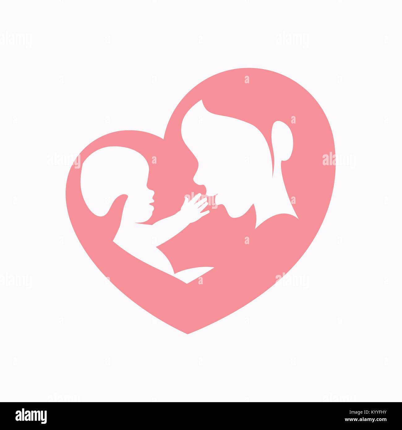 Mother holding little baby sitting in her arm in heart shaped silhouette, logo, icon design for happy mother's - Stock Vector