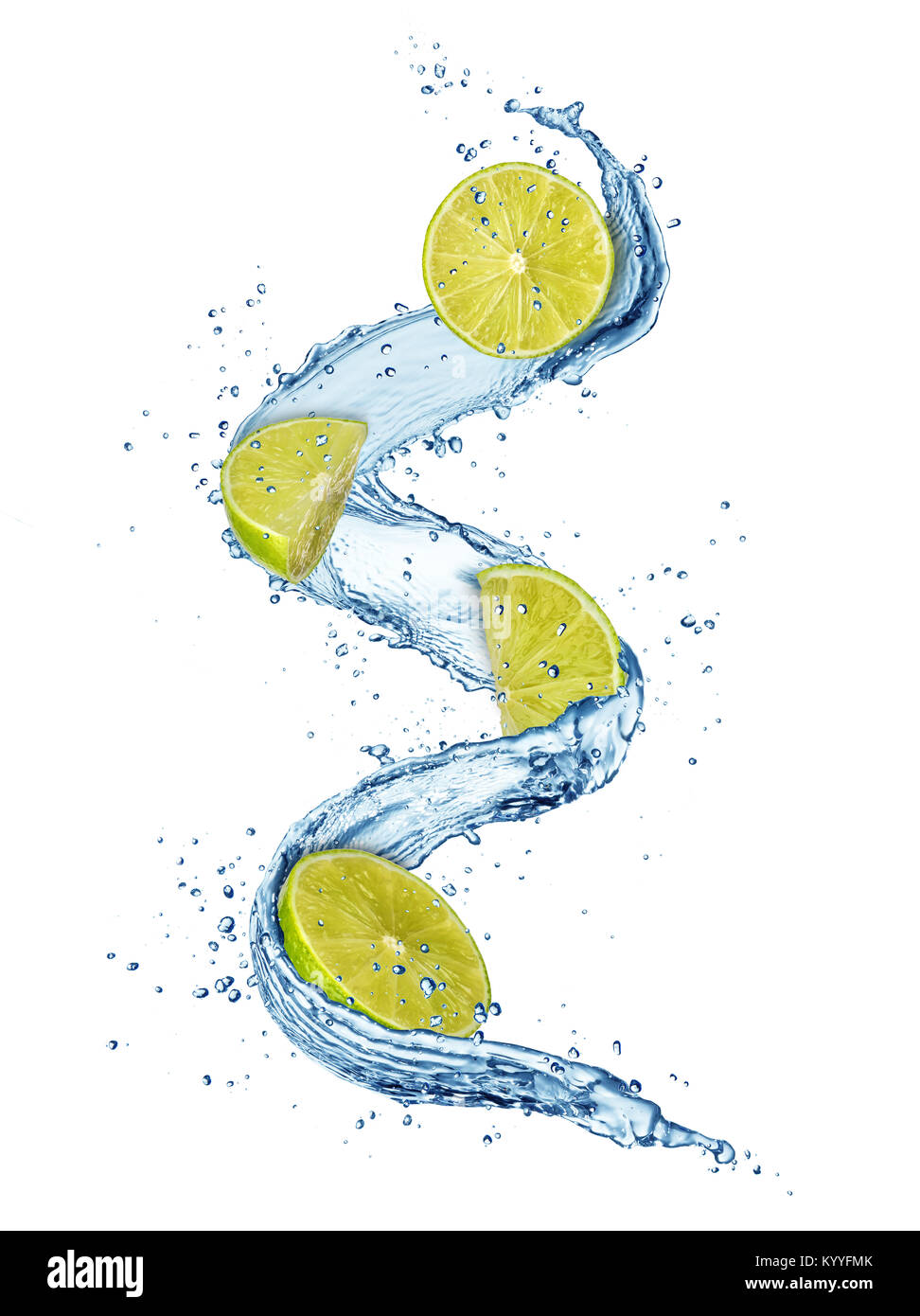 Pieces of limes in water splashes. Fresh drink concept. High resolution image isolated on white background Stock Photo