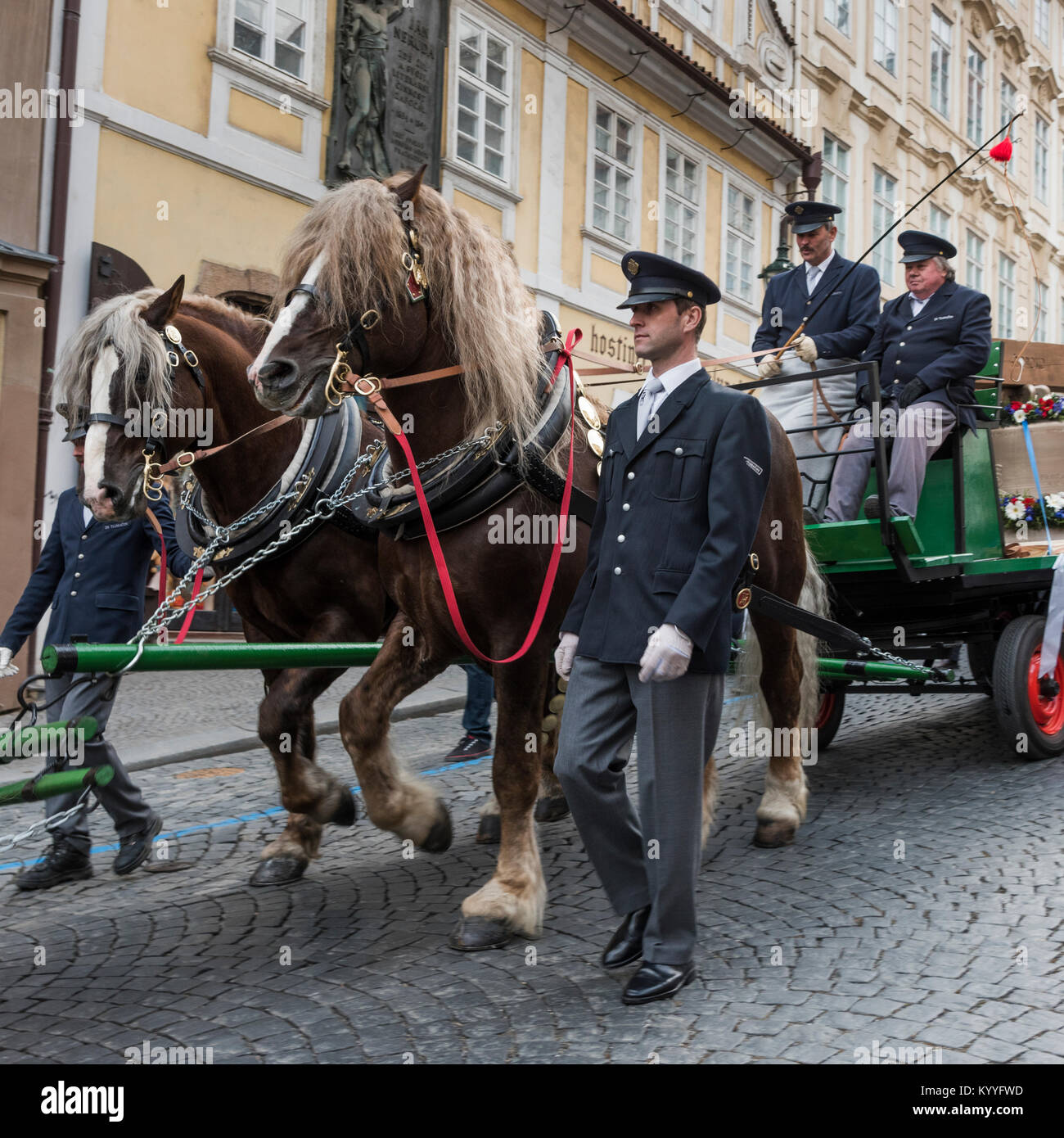 Security officials with horse cart on street, Lesser Town, Prague, Czech Republic - Stock Image