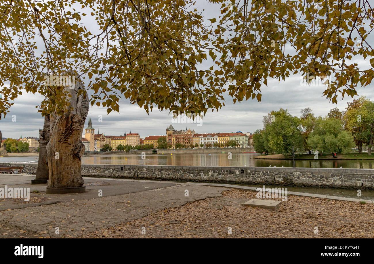 Looking across The River Vltava towards Prague Old Town - Stock Image