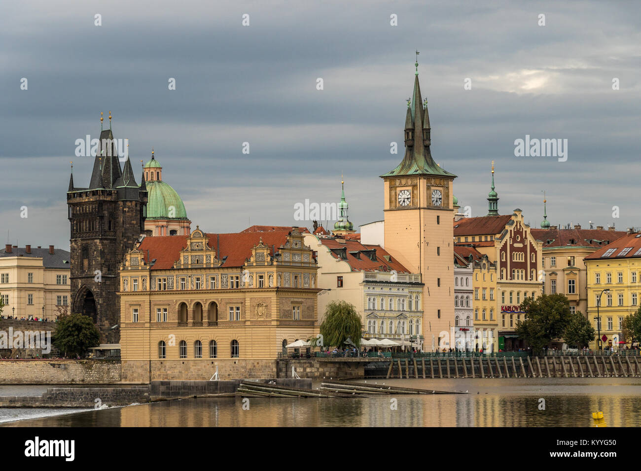 Prague from the Banks of the River Vltava with Old Town Bridge Tower at the entrance to The Charles Bridge - Stock Image