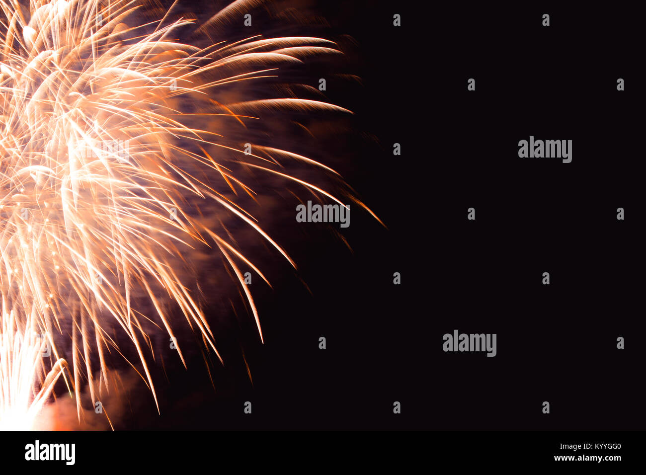 Rainbow Fireworks Celebration Colorful Abstract Image With: Gold Firework Black Background Stock Photos & Gold