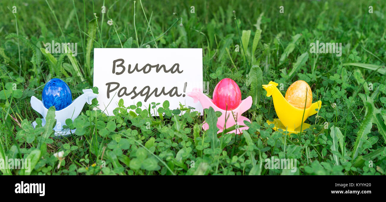 Easter card with colorful easter eggs and italian text happy easter easter card with colorful easter eggs and italian text happy easter m4hsunfo