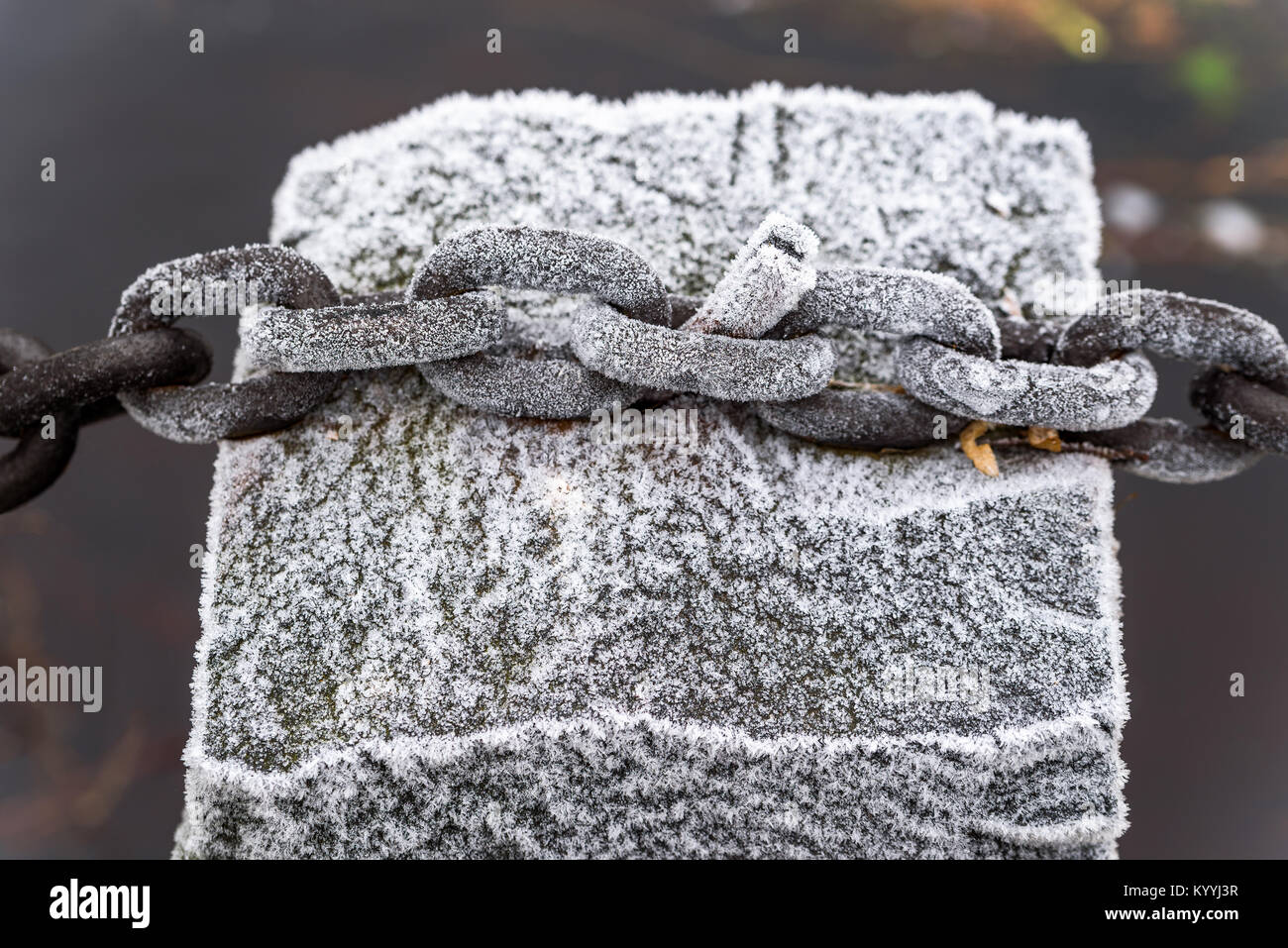 Hoarfrost on iron chain connected to a granite stone pillar. - Stock Image