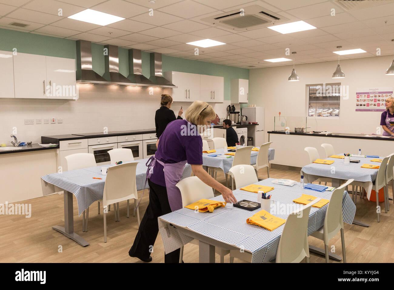 Tesco Extra, Rotherham, Yorkshire UK. The Eat Happy Kitchen Tesco Extra, Rotherham, Yorkshire UK. The Eat Happy - Stock Image