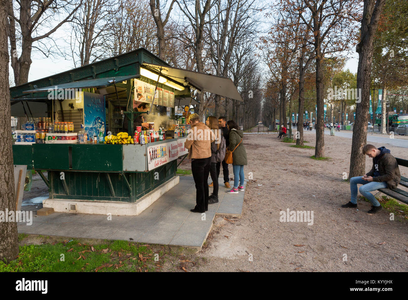 Crepe / pancake / fast food stall on the Champs Elysee in Paris, France - Stock Image