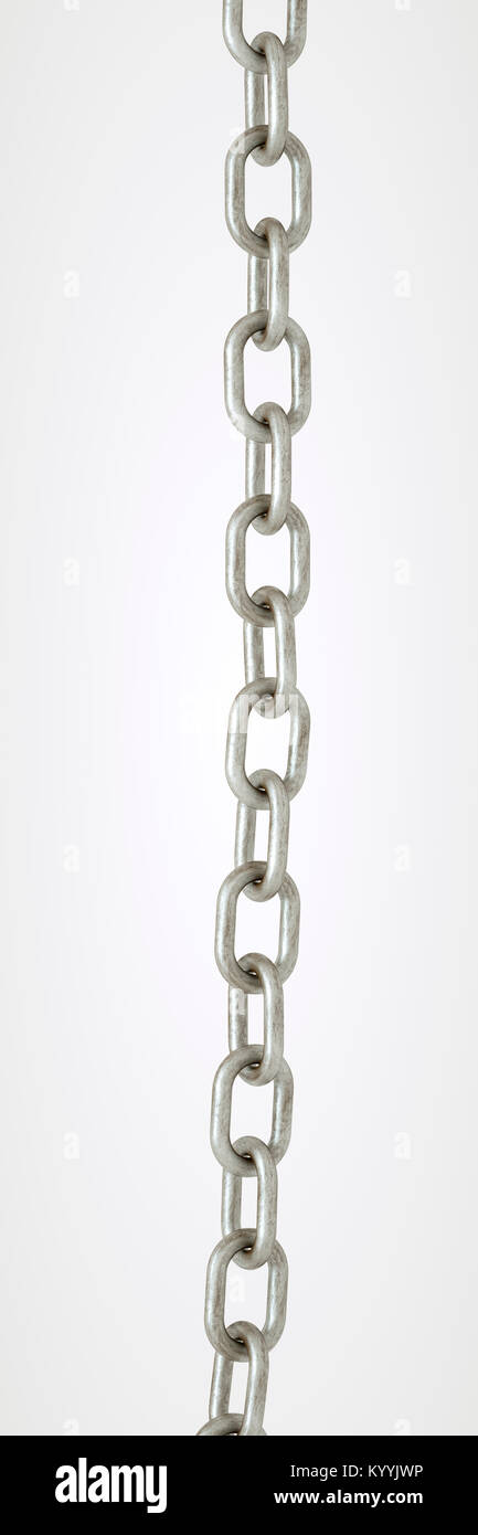 Straight length of galvanised metal chain on a white background - Stock Image