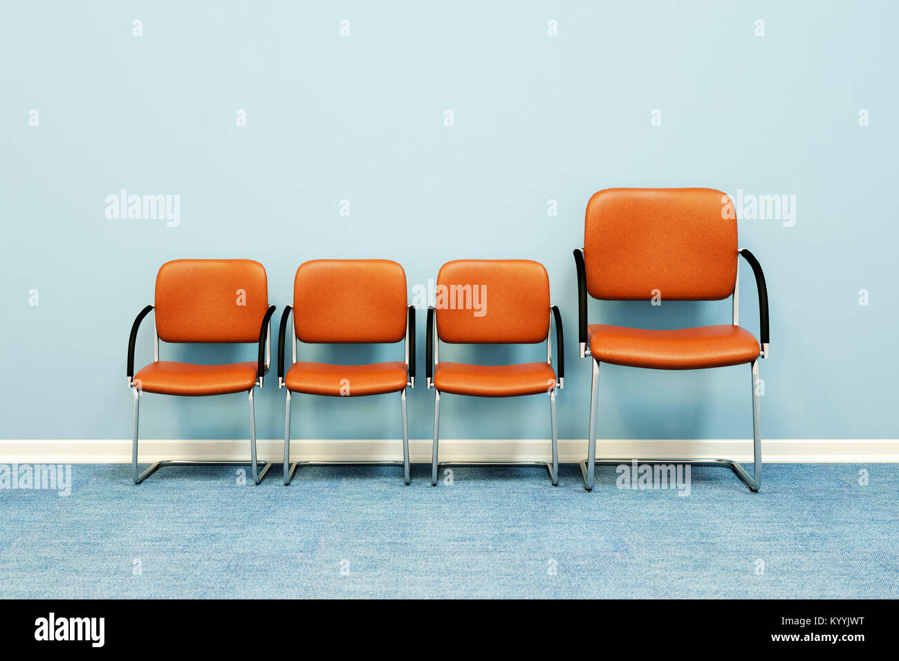 One large and three small chairs in a row against a wall in an empty room - concept image - Stock Image
