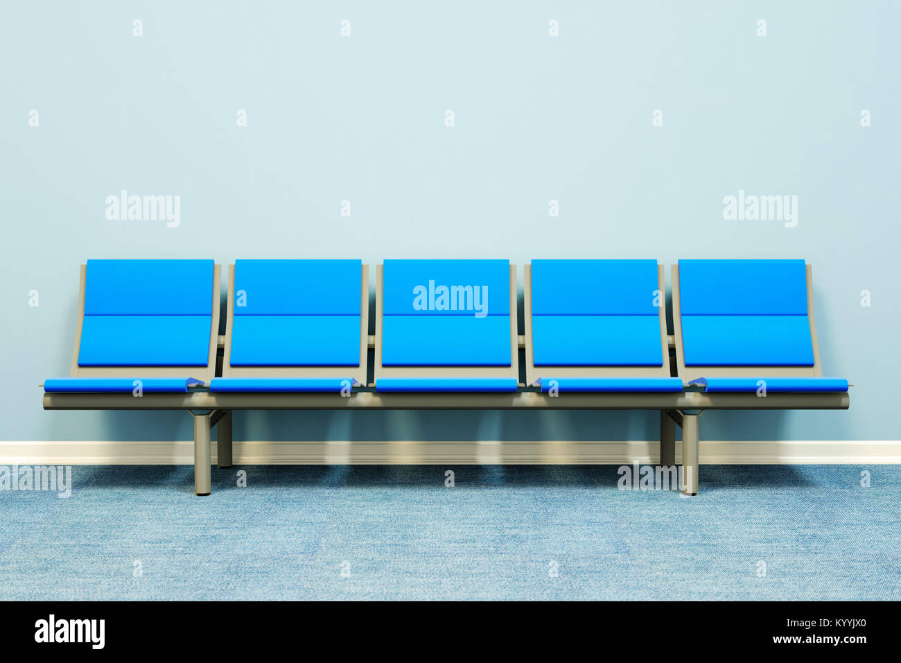 Five seats in a row against a wall in an empty room - waiting room, hospital, doctors, medical, job interview concept - Stock Image
