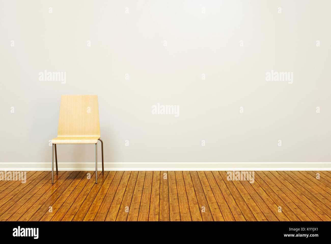Large Blank Wall In An Empty Room With A Wooden Floor And Basic Chair