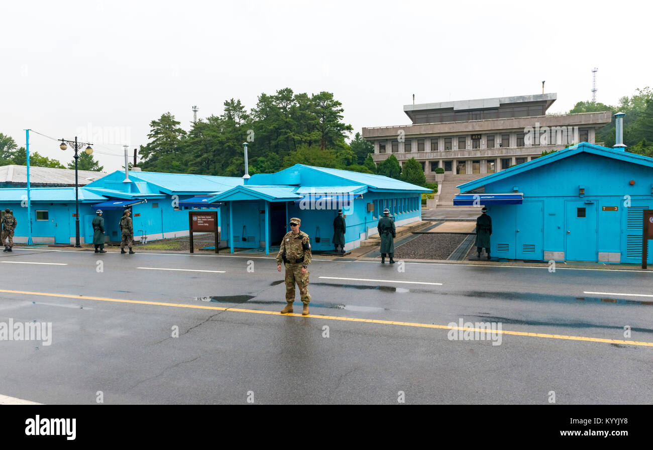 The Joint Security Area (JSA) in South Korea at Panmunjeom, showing the Military Demarcation Line border between - Stock Image