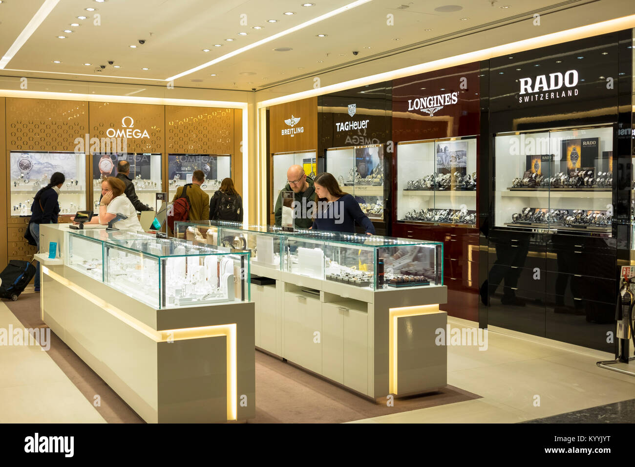 Luxury brands for sale at the Duty Free shop at Gatwick Airport, UK - Stock Image
