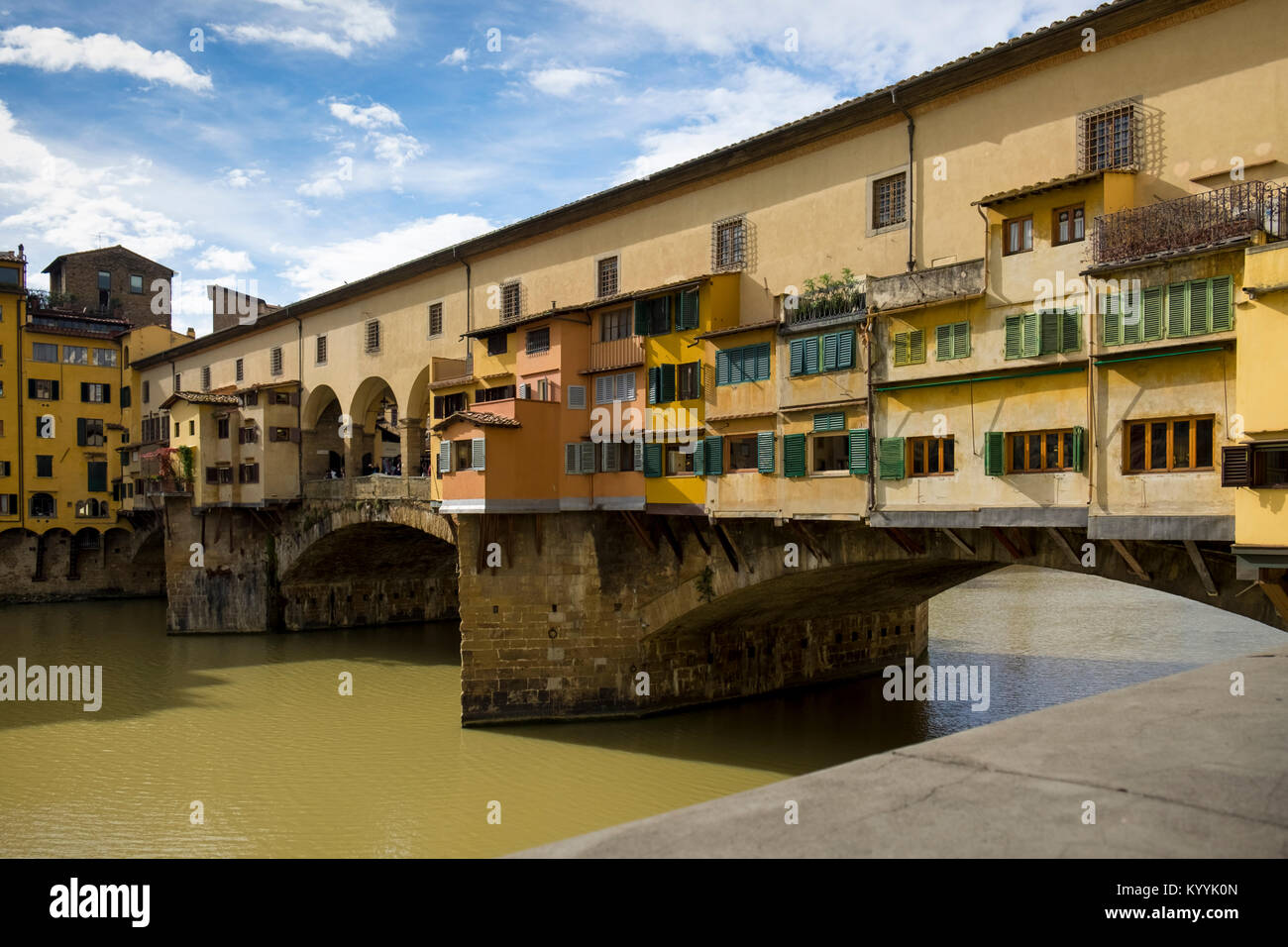 Ponte Vecchio bridge in Florence city, Italy, Europe - Stock Image