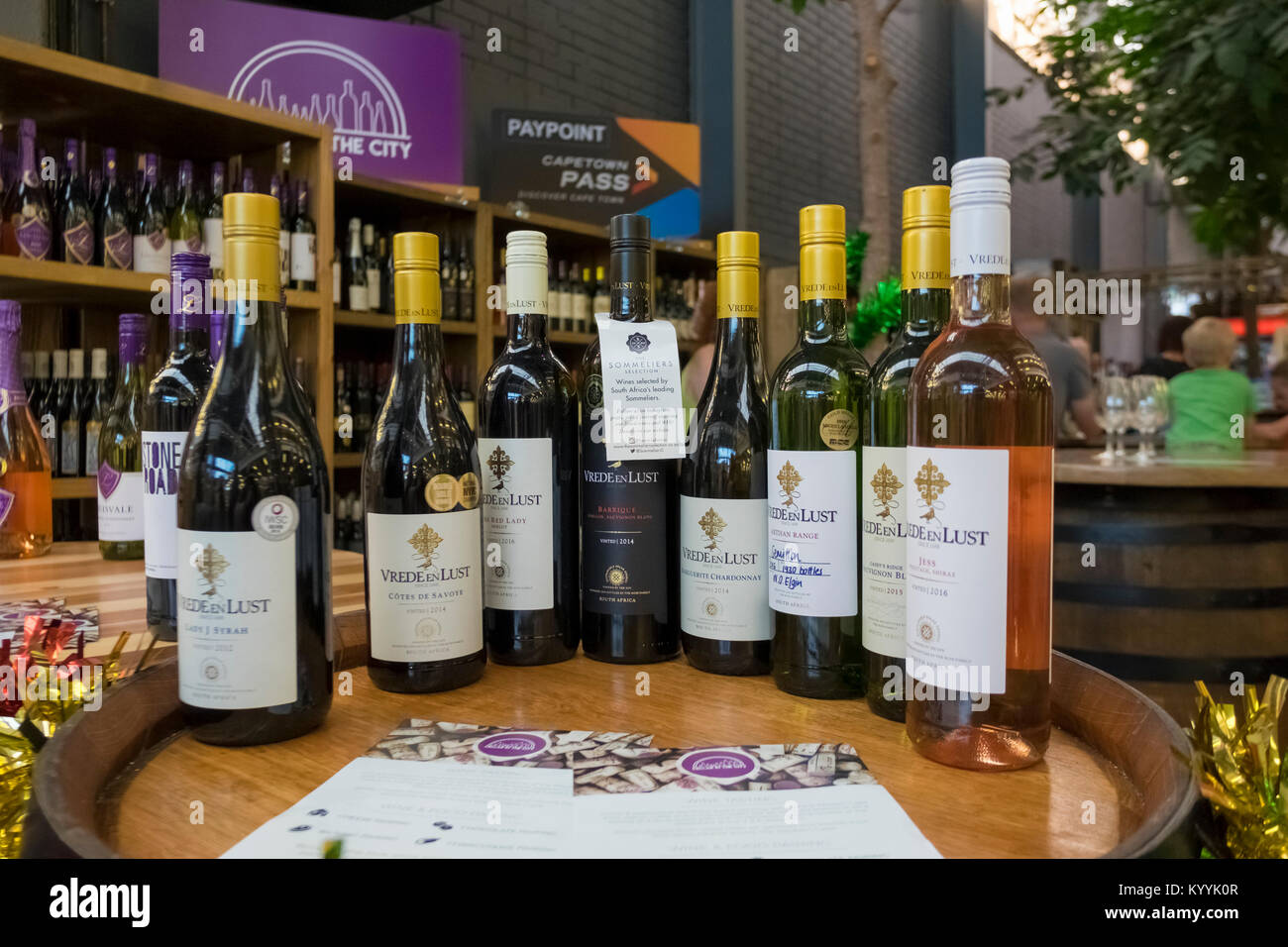 South African wine at The Watershed, V&A Waterfront, Cape Town, South Africa - Stock Image