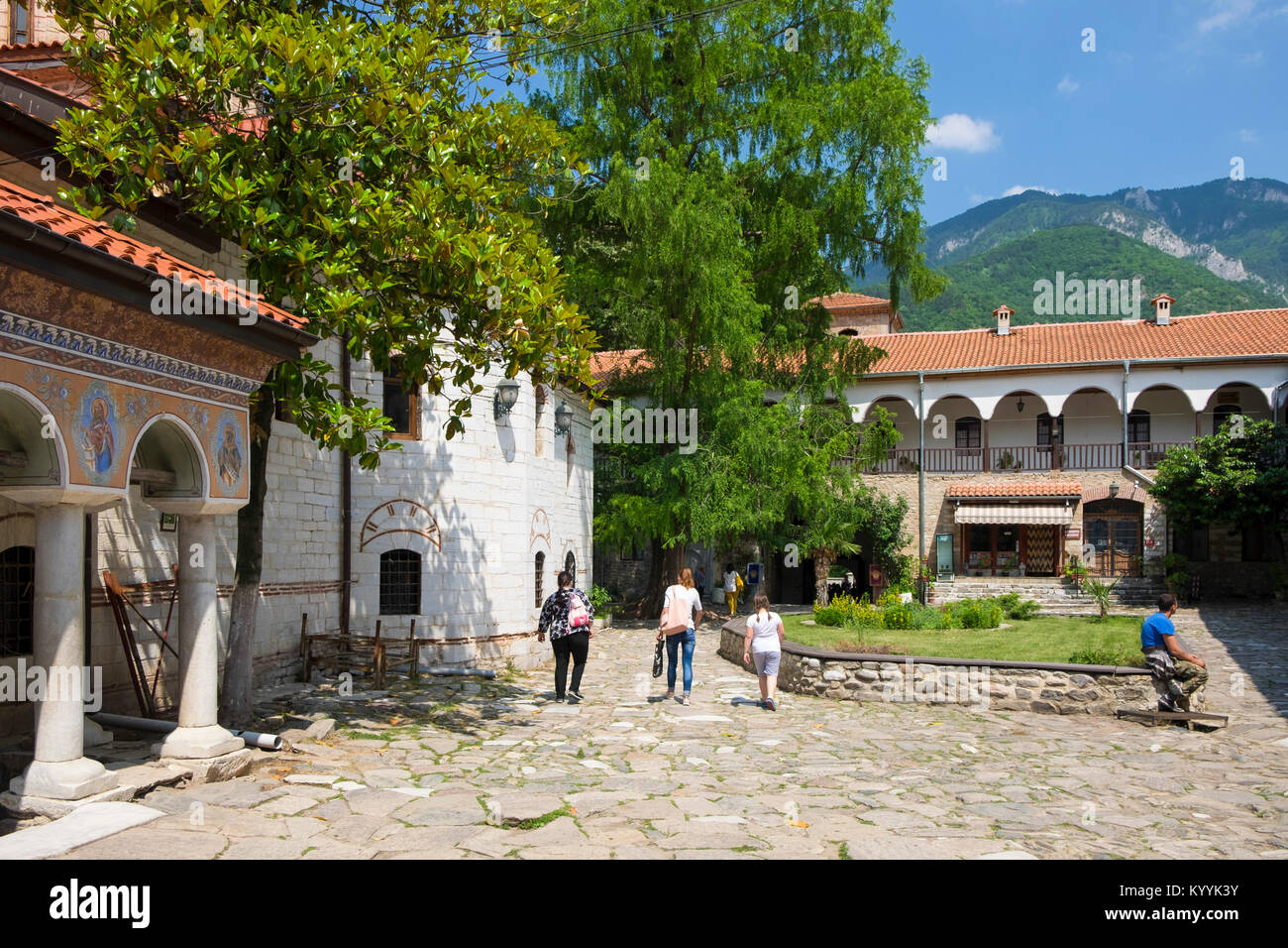 Tourists at the Bachkovo Monastery, Bulgaria, Europe - Stock Image