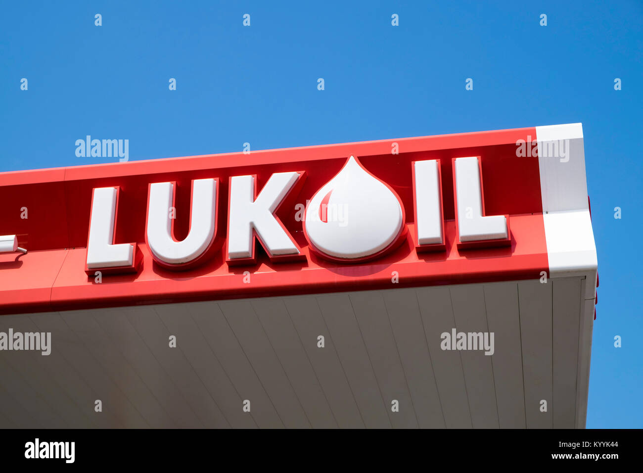 Lukoil sign at one of the Russian oil company's service stations, Russia - Stock Image