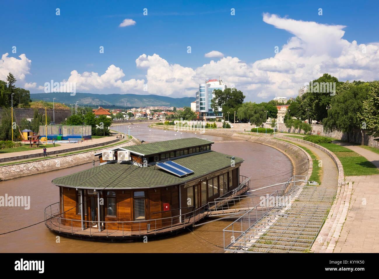 Porto Bello Boat Cafe on the river Nisava in Nis, Serbia, Europe - Stock Image