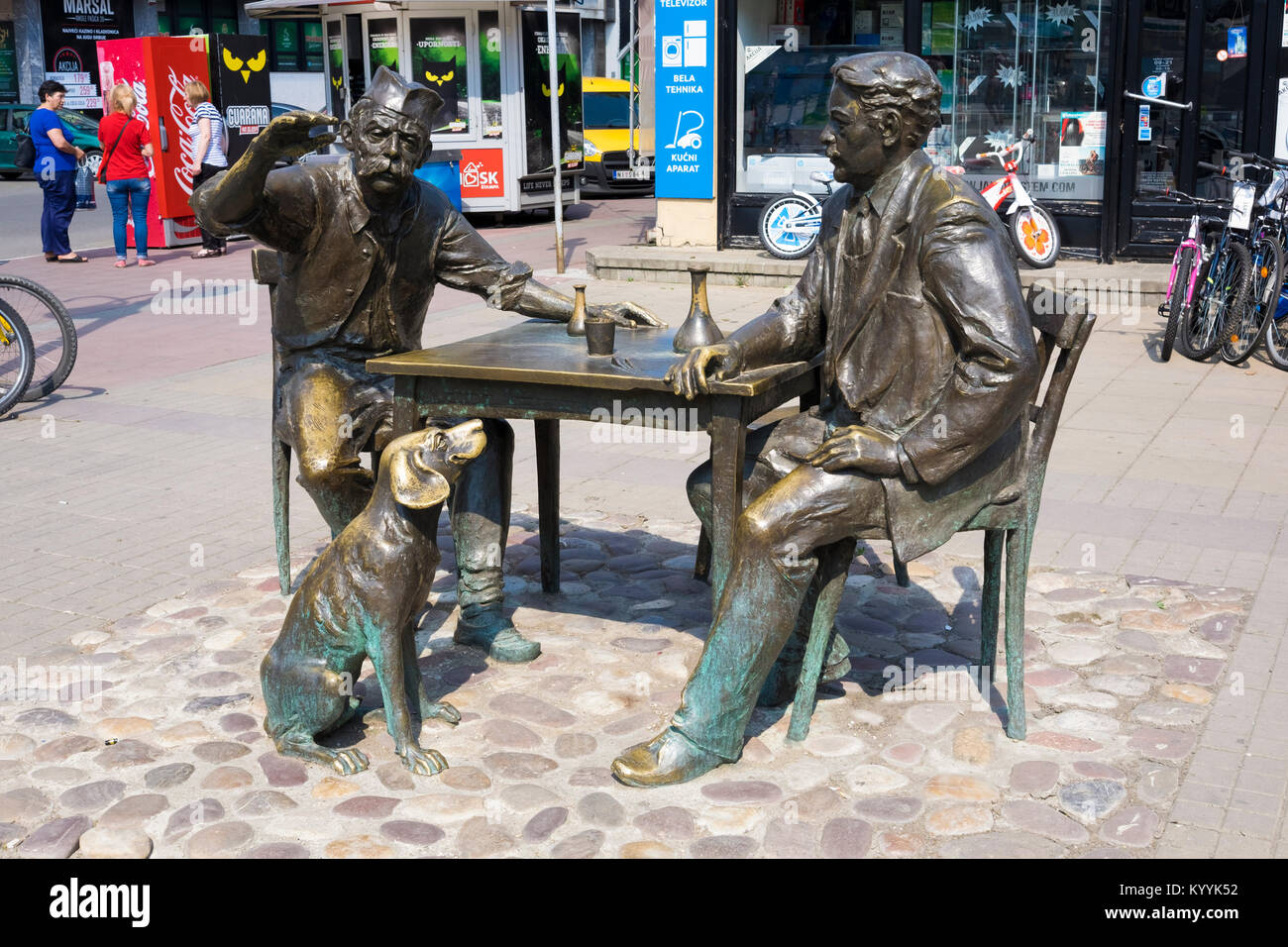 Sculpture in Nis city centre, Serbia, in honour of Stevan Sremac, a Serbian realist and comedy writer. - Stock Image