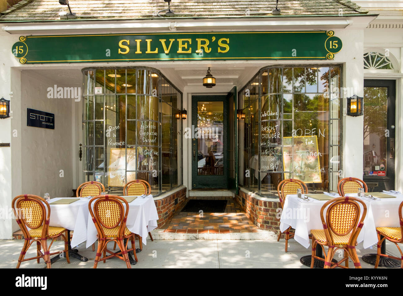 Long Island, Silvers restaurant in Southampton village, The Hamptons, New York, USA - Stock Image