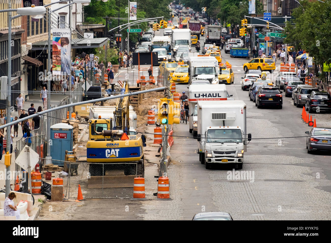 Traffic congestion and road works in the Meatpacking district of Manhattan, New York City, USA - Stock Image
