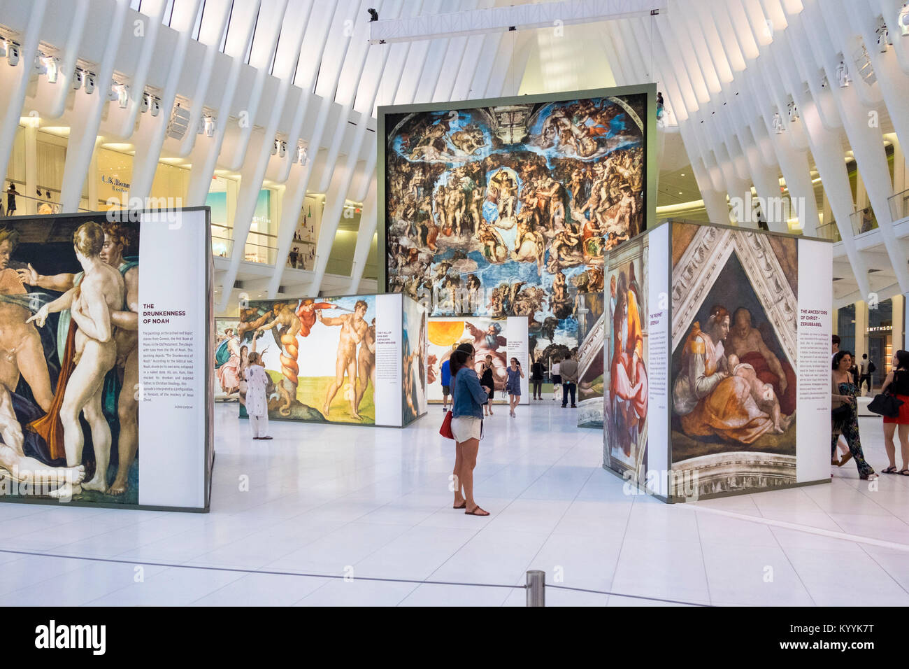 Exhibition inside Westfield World Trade Center, a shopping centre at the World Trade Center complex in Manhattan, - Stock Image