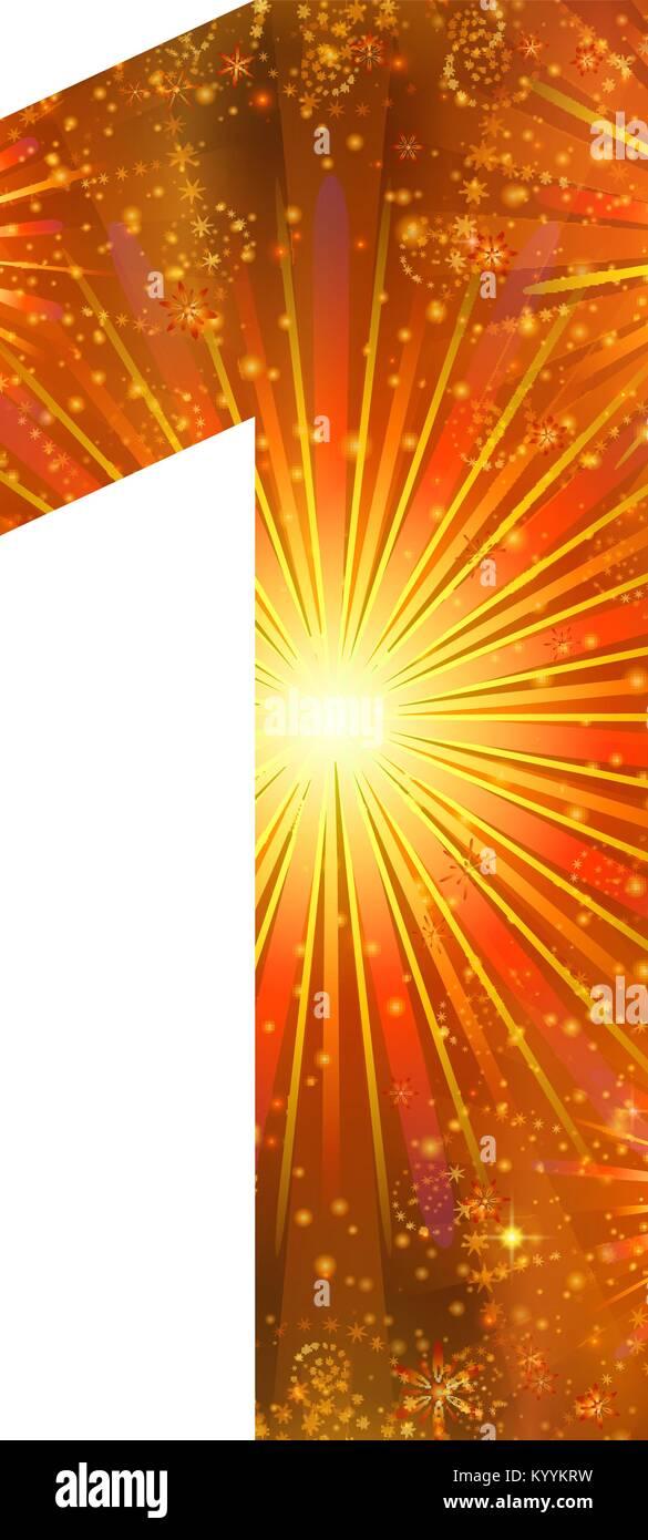 Number of orange firework, one - Stock Image