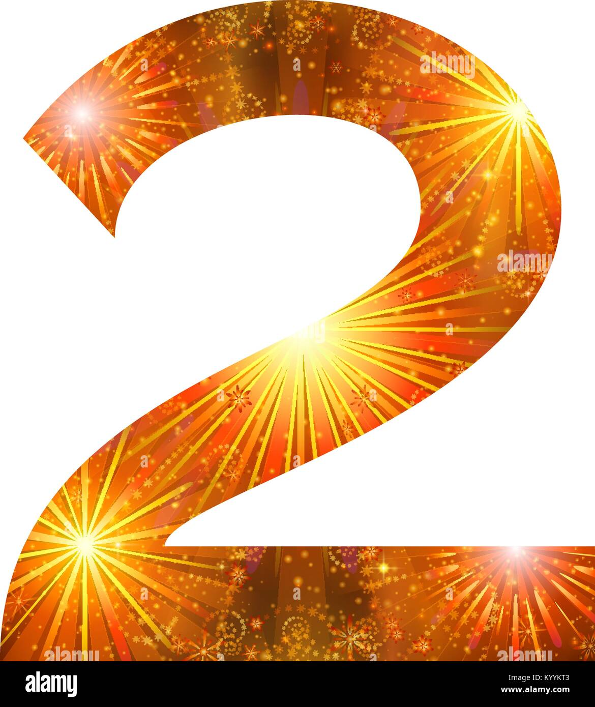 Number of orange firework, two - Stock Image