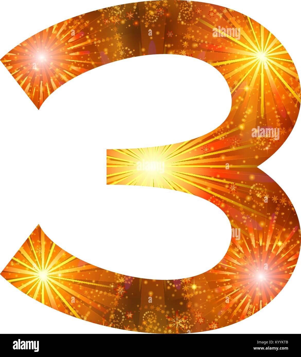 Number of orange firework, three - Stock Image