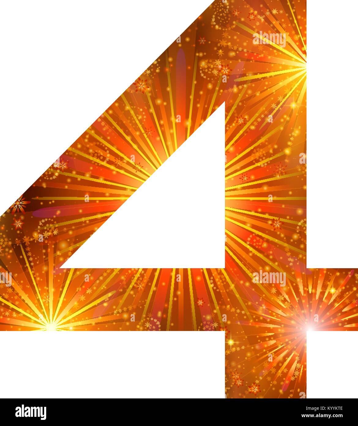 Number of orange firework, four - Stock Image