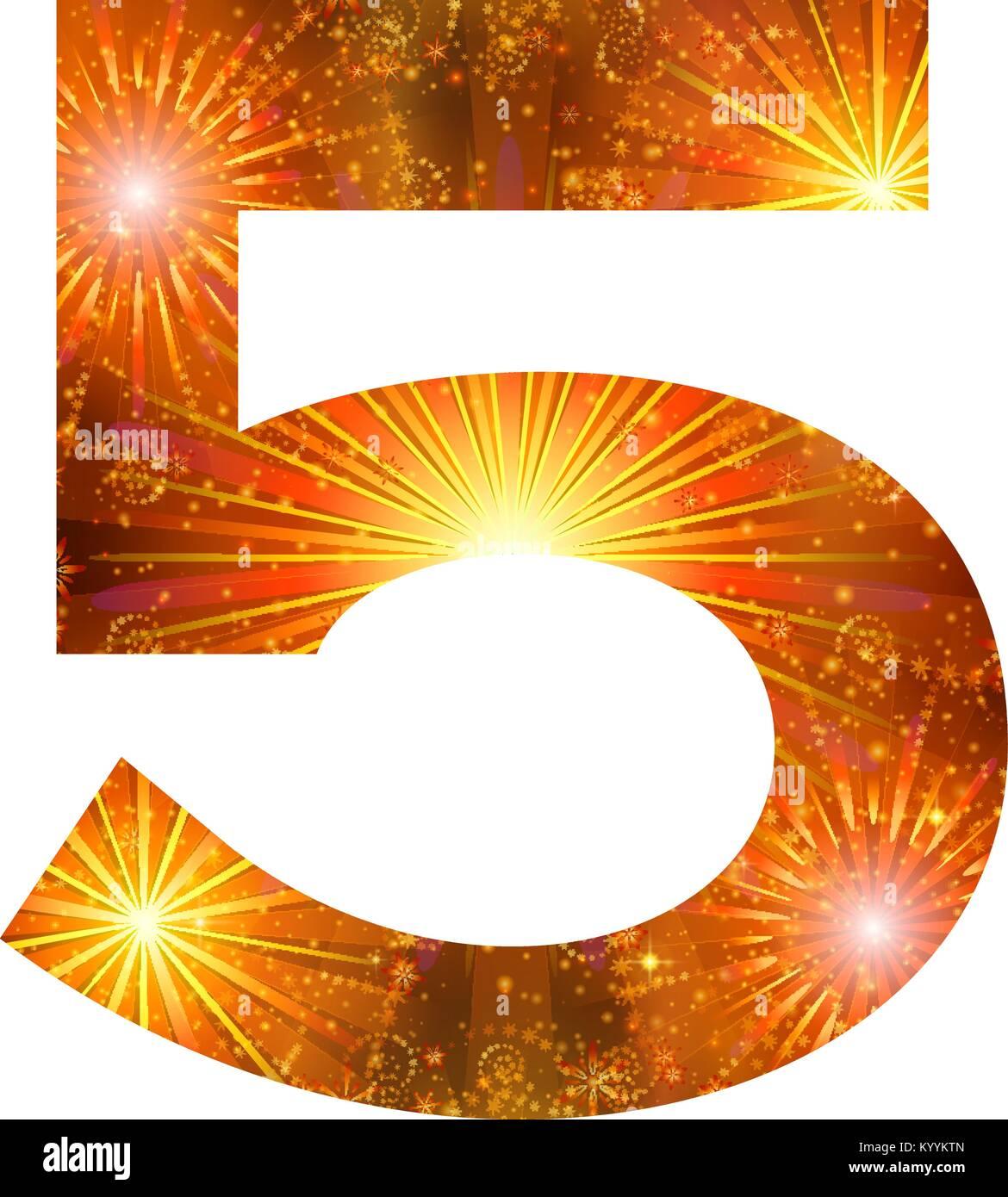 Number of orange firework, five - Stock Image