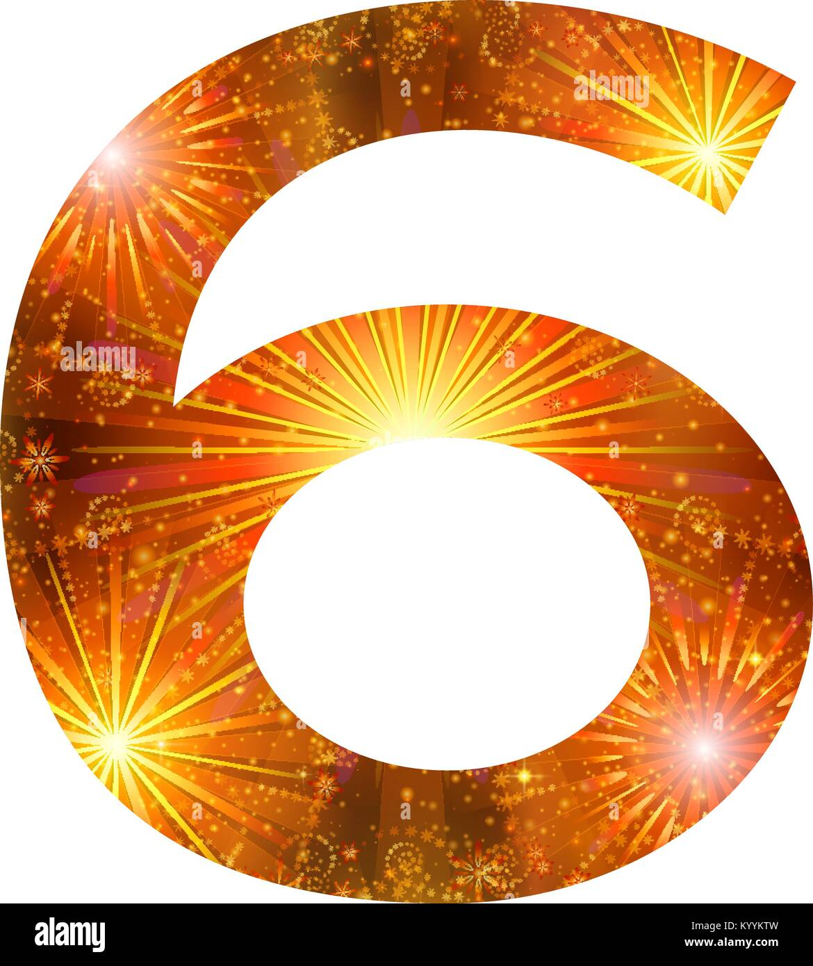 Number of orange firework, six - Stock Image