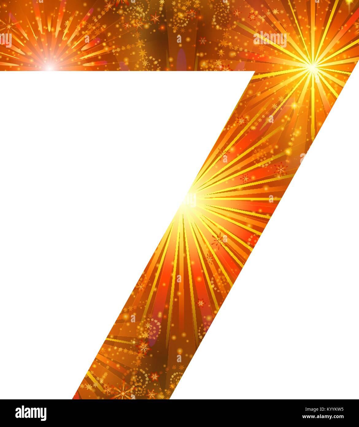Number of orange firework, seven - Stock Image