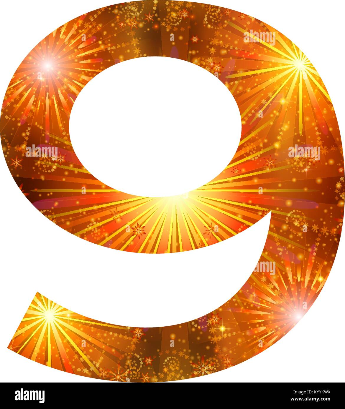 Number of orange firework, nine - Stock Image