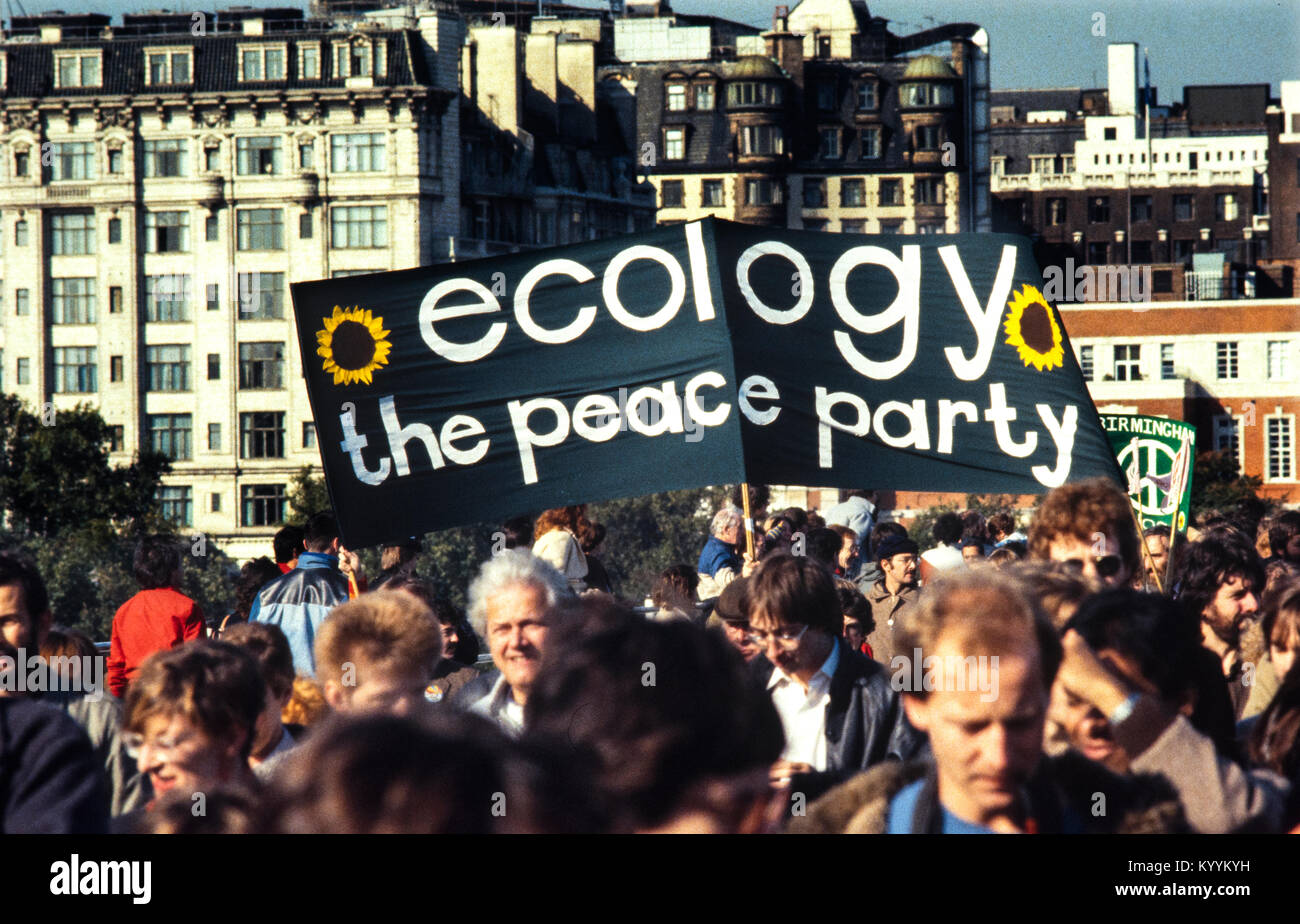 CND-Campaign for Nuclear Disarmament Protest March through central London England UK_22 October 1983 Scans made - Stock Image