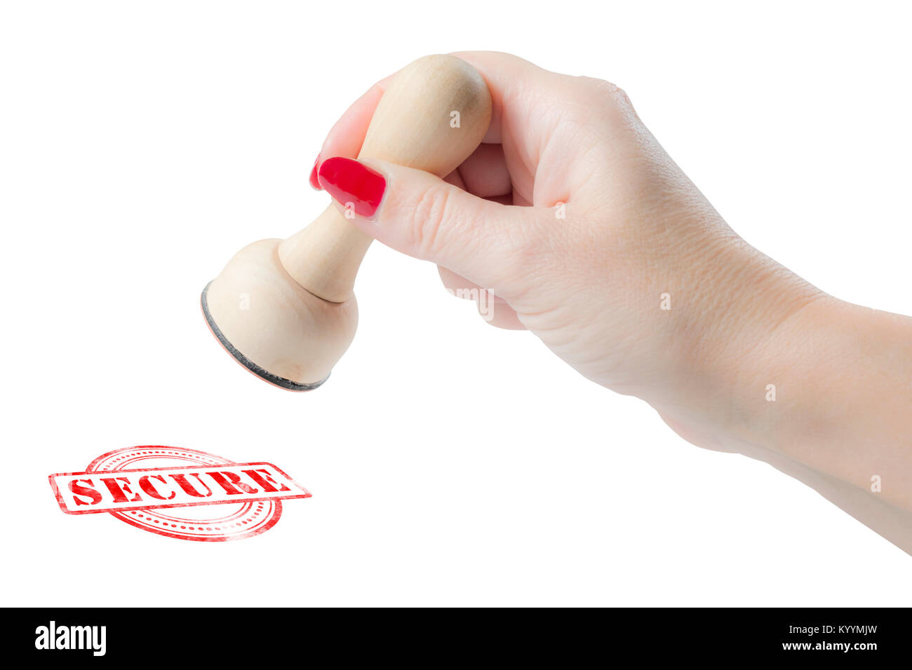 Hand holding a rubber stamp with the word secure isolated on a white background - Stock Image