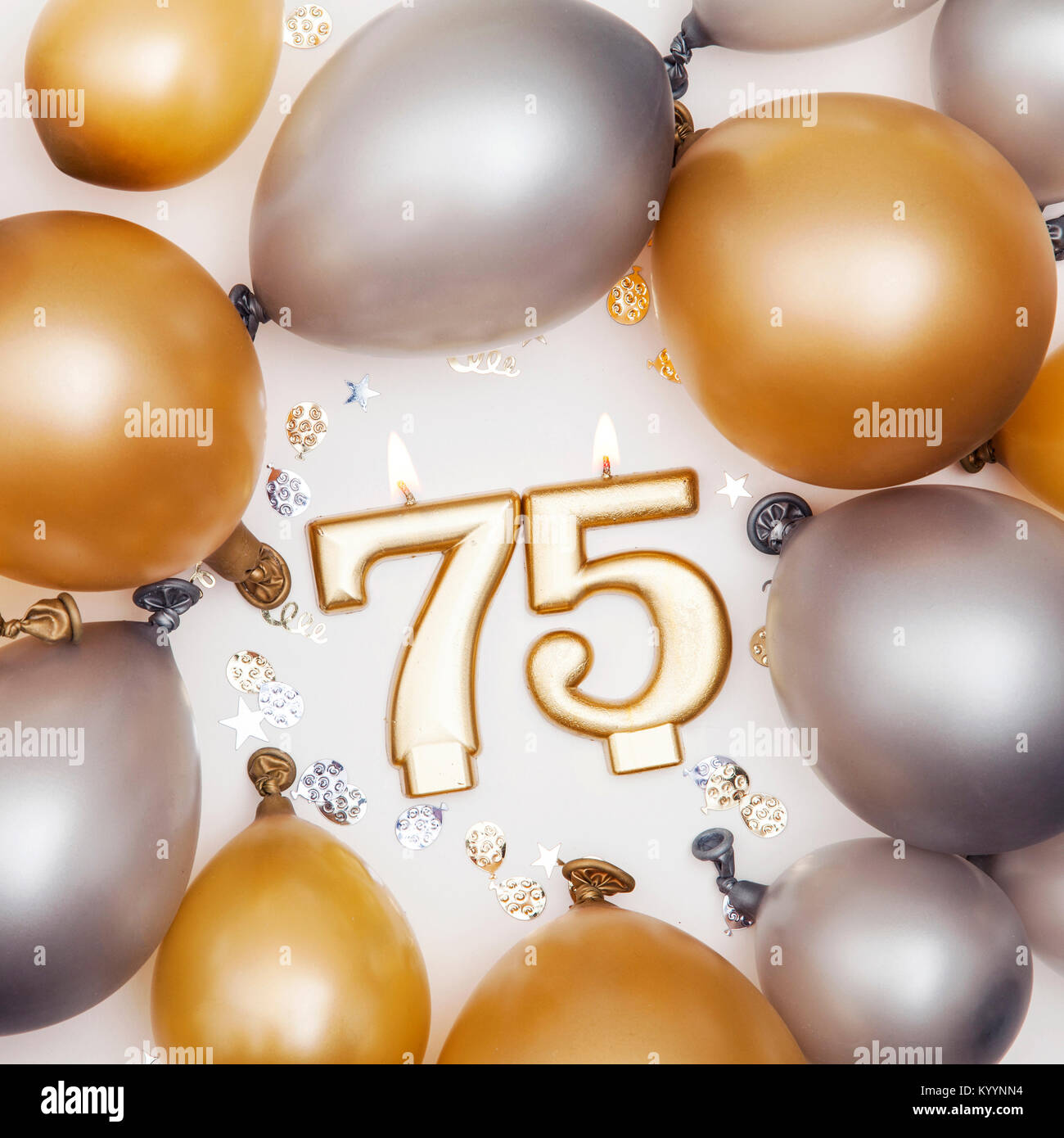 Birthday Celebration Number 75 Candle With Gold And Silver Balloons
