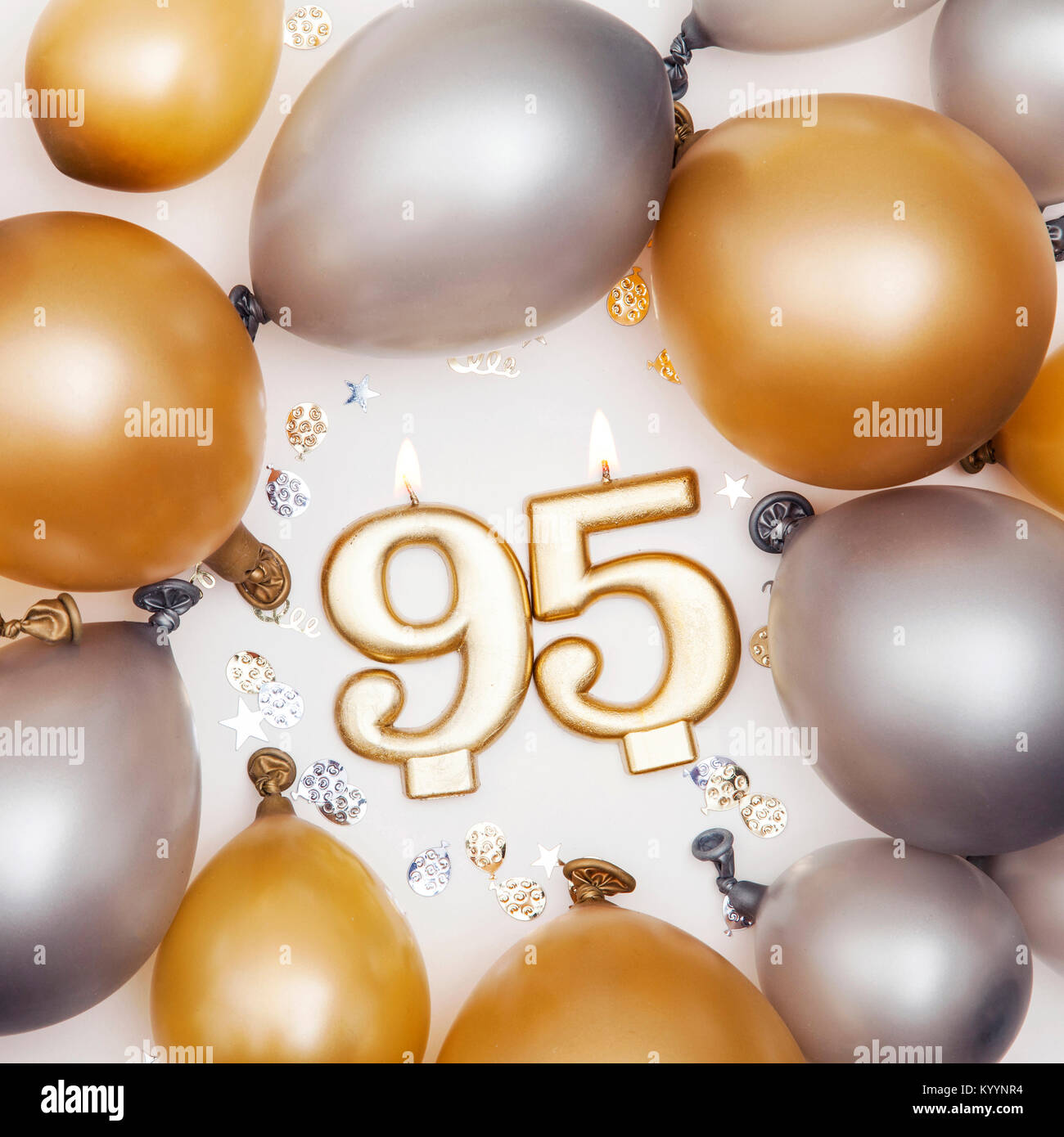 Birthday Celebration Number 95 Candle With Gold And Silver Balloons