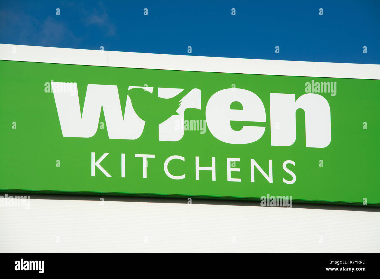 Wren kitchens shop signage or sign, UK - Stock Image