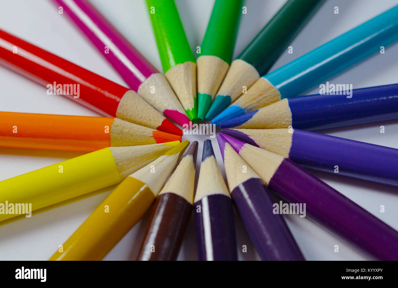 Colored Pencils arranged in a circle - Stock Image