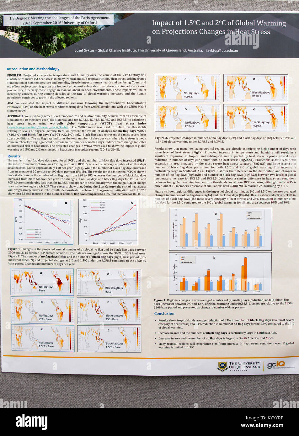 A poster about heat stress at a climate change conference held at Keble College, Oxford, UK. - Stock Image