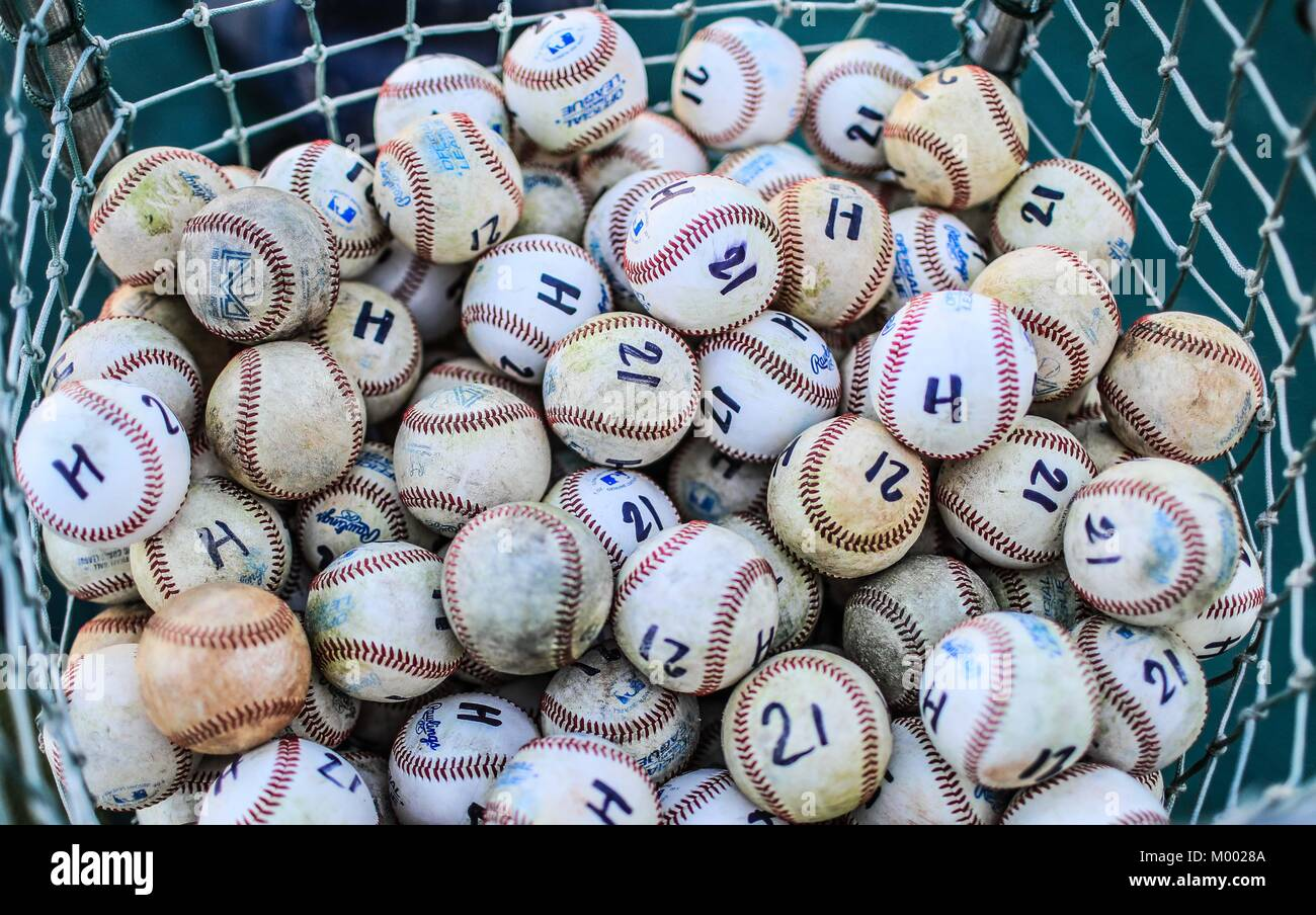 Ball, Baseball balls of Naranjeros de Hermosillo training. Marked with the letter H and number 21 in honor of Hector Stock Photo